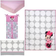 Minnie Mouse Bedspread Set Disney Baby Minnie Mouse Polka Dots 4 Piece Crib Bedding Set