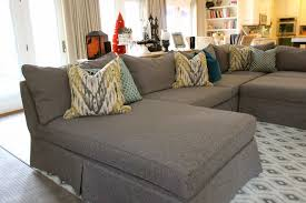 custom slipcovers by shelley grey tweed sectional