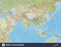Relief Map Asia Relief Map With Country Borders Stock Photo Royalty Free
