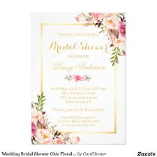 Shop Invitation Card Wedding Bridal Shower Chic Floral Golden Frame Card Bridal