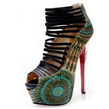 Peacock High Heels 2016 Fashion Peep Toe Stiletto Platform Peacock Super High Heels