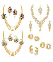 earring necklace set gold images Sukkhi combo of three golden alloy necklace set with three jpg