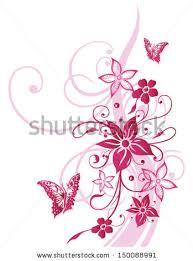 colorful flowers butterflies swirls pink summer stock vector