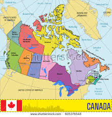 canadian map and capitals vector highly detailed political map canada stock vector 605376548