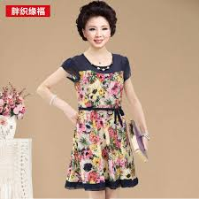 new casual short sleeve o neck older woman dress mother clothing