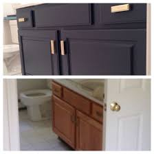 Navy And White Bathroom Ideas - diy before and after builder grade oak bathroom vanity in bm hale