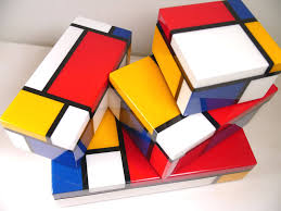Yellow Decorative Box Pencil Box Composition With Red Yellow And Blue 1930