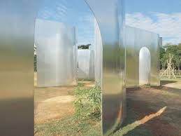 architects design wavy mirrored installation in chinese national park