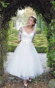 50 s style wedding dresses hn florence calf length fifties style wedding dress wedding