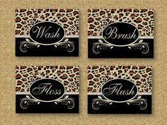Animal Print Wall Decor Cheetah Leopard Print Bathroom Wall Word Decor Art Wash