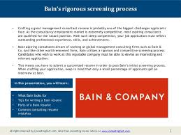 Management Consulting Resume Examples by Bain Resume Sample