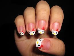 white simple hello kitty acrylic nail designs http