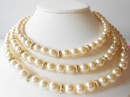 pearl necklace costume images Pearl necklace vintage necklace pearl and gold bead triple jpg