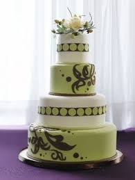 mint green wedding cake with chocolate brown vine detailing mint