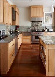 kitchen cabinet ideas with wood floors wood floor with light kitchen cabinets decorist