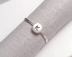 Monogrammed Silver Ring Silver Initial Rings Etsy