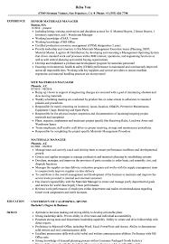 materials manager resume samples velvet jobs
