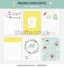 super cute stationery stickers set printable stock vector