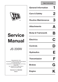 jcb js200w wheeled excavator service repair manual sn 809000 onwards