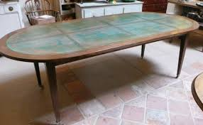 louis xvi style oval dining table with copper top