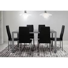 chaises table manger ensemble salle à manger 6 chaises table noir gris achat vente