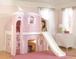 castle pink white loft bed for girls with slide and playing area