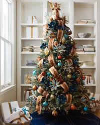 christmas tree decorating ideas with mesh ribbon ne wall
