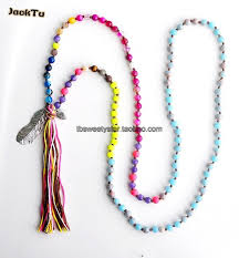 bead necklace with pendant images Beads mix beads knotted bead necklace with leaf pendant in chain jpg
