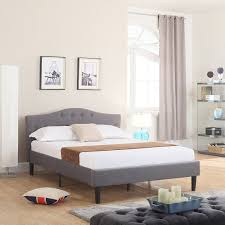 curved bed frame amazon com classic deluxe linen low profile platform bed frame