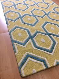 Modern Yellow Rug Handmade Wool Modern Yellow Blue 5x8 Lt1110 Area Rug