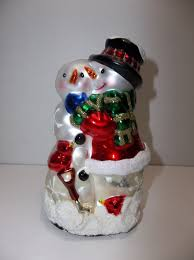 vintage pacconi glass snowman with baby figure
