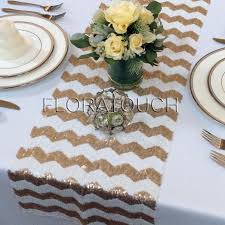 Grey Chevron Table Runner Gold And White Chevron Sequin Table Runner Wedding Table Runner