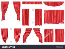 Silk Velvet Curtains Luxury Red Silk Velvet Curtains Decoration Stock Illustration