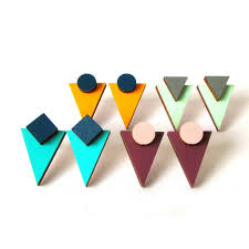 wooden stud earrings geometric triangle stud earrings by paper house