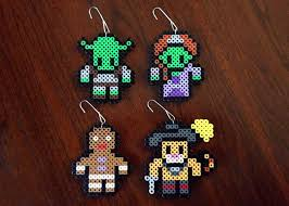 shrek inspired 8 bit ornament set shrek perler beads and ornament