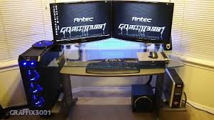 ultimate gaming desk setup furniture ergotron dual monitor stand ergotron gaming addict desk