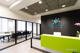 Reception Desk Black by Office Reception Area With Custom Reception Desk Green Accents