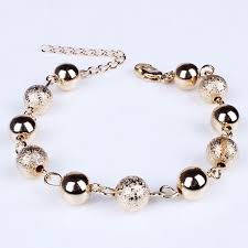 gold beads bracelet images Charm gold plated metal matte ball beads bracelet women jewelry at jpg