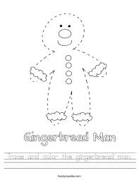 trace and color the gingerbread man worksheet twisty noodle