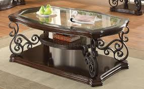 coffee table in merlot by coaster w glass top u0026 options