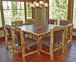 rustic log kitchen tables with simple 8 chairs armless design