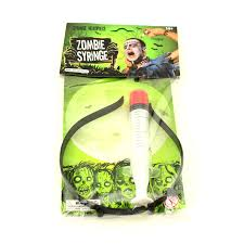 halloween props usa zombie syringe thru throu head headband fake bloody scary costume