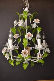 porcelain chandelier roses fabulous vintage italian tole flower chandelier with porcelain