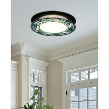 Flush Mounted Lighting Fixtures by Dale Tiffany Green Leaves Round Flush Mount Light Fixture