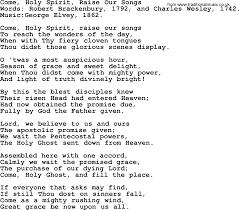 Bad Girls Lyrics Pentecost Hymns Song Come Holy Spirit Raise Our Songs Lyrics