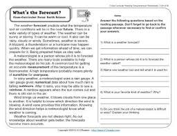 what u0027s the forecast 3rd grade reading comprehension worksheet