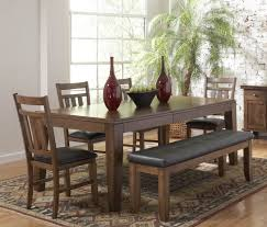 Leather Dining Benches Casual Dining Room Design With Butterfly Leaf Rectangle Dining