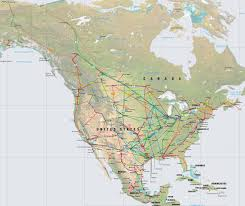 Map Of The United States In Color by North America Pipelines Map Crude Oil Petroleum Pipelines