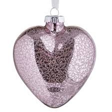 wilko frosted glass mercury heart christmas tree decoration pink