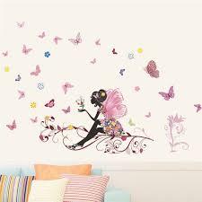 stickers pour chambre fille liketech fleurs et fée arbre et papillons sticker pour